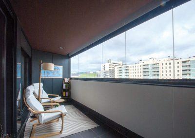 Terraza con cortinas de cristal Lumon
