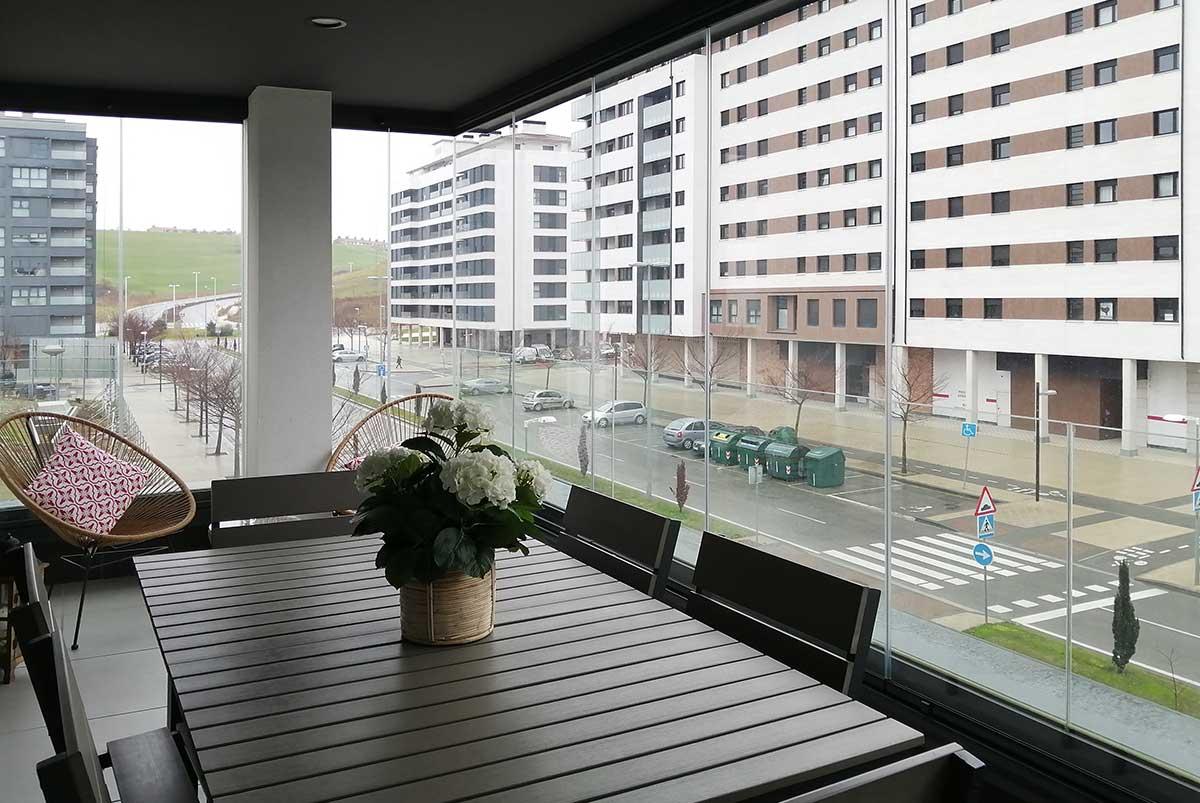 Imagen de cortinas de cristal en terrazas